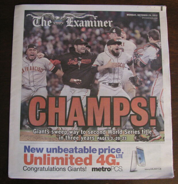 SAN FRANCISCO GIANTS WORLD SERIES PAPER SF EXAMINER NEWSPAPER 2012 FREE SHIPPING