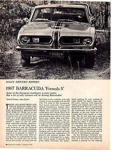 1967-PLYMOUTH-BARRACUDA-039-FORMULA-S-039-ORIGINAL-2-PAGE-ARTICLE-AD