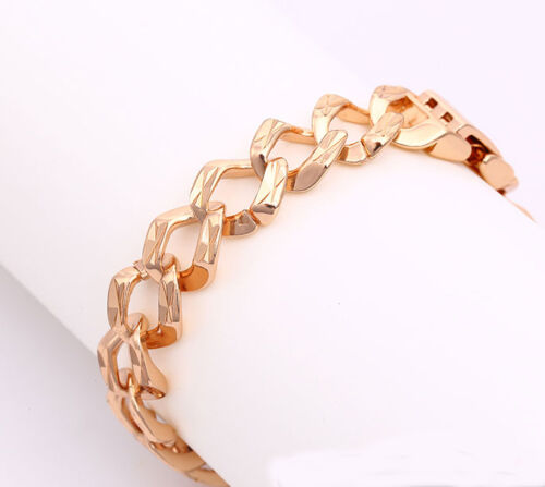 Classic 18k Rose Gold Filled GF Curb Link Bracelet BL-283