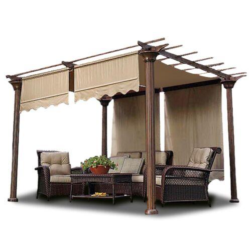 2pcs Patio 15.5x4/' Pergola Canopy Replacement Cover Tan UV30 200g w// Valance