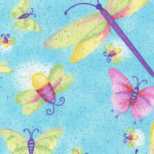 Turtle Talk Fabric Butterflies on Green Choice Fabrics Premium Cotton