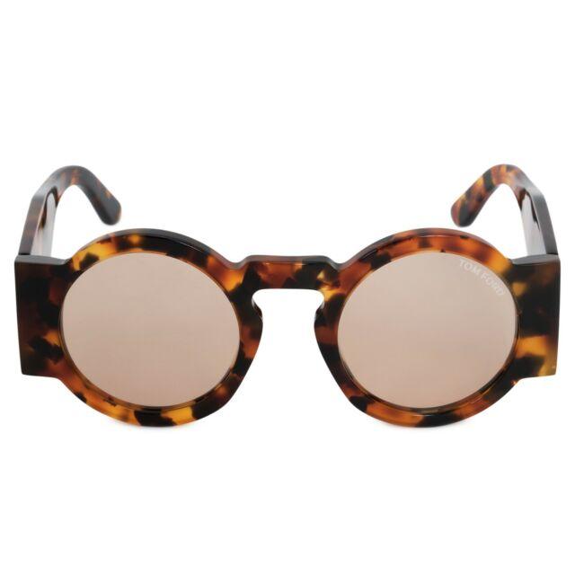 22166acc20b Tom Ford Tatiana Round Sunglasses FT0603 55E 47 Havana Frames Brown Lenses