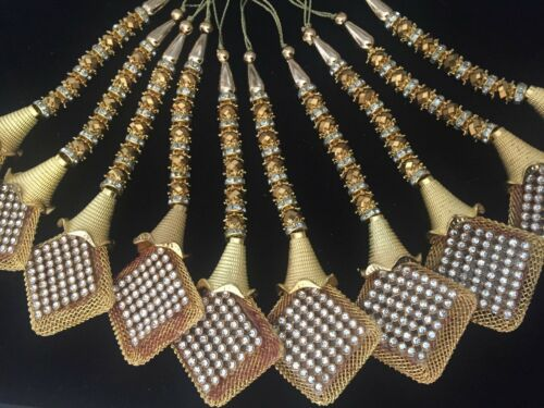 1 Pair Latest Indian ZIrcon  Latkan Sari Blouse Accessory Duppata Suit Sewing