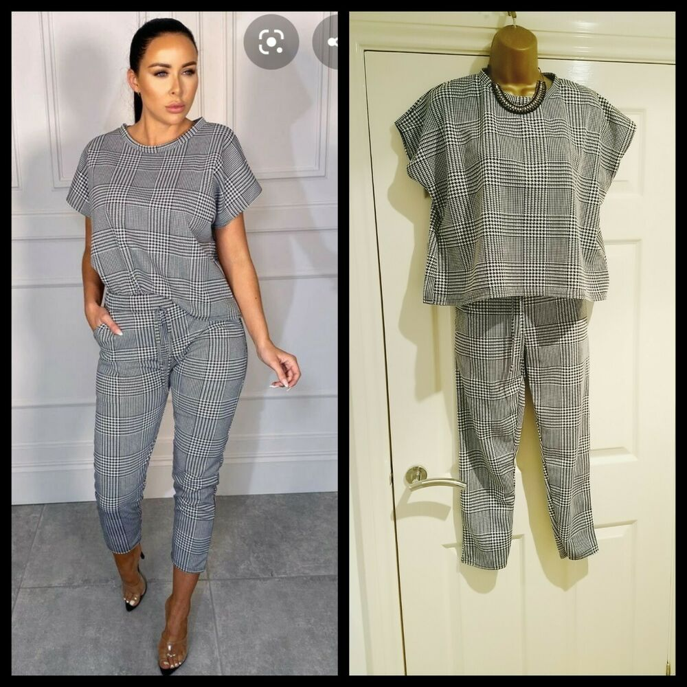 Femme Luxe Bnwt Dogtooth Boxy Lounge Wear Co Ord Set S/8-10