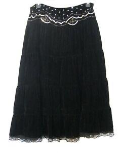 BLACK VELVET Tiered SKIRT Size 14 (XL) Sequin GYPSY Boho Lace Autograph Long