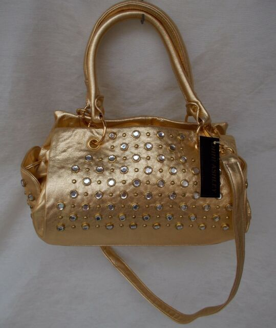 New Women's Ohh Ashley Italian Milled Leather Satchel Stones Studs Gold Foil