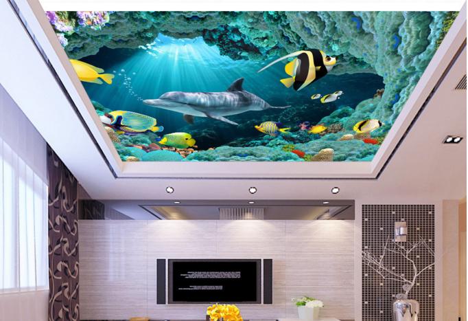 3D Dolphin Cave 743 Ceiling WallPaper Murals Wall Print Decal Deco AJ WALLPAPER