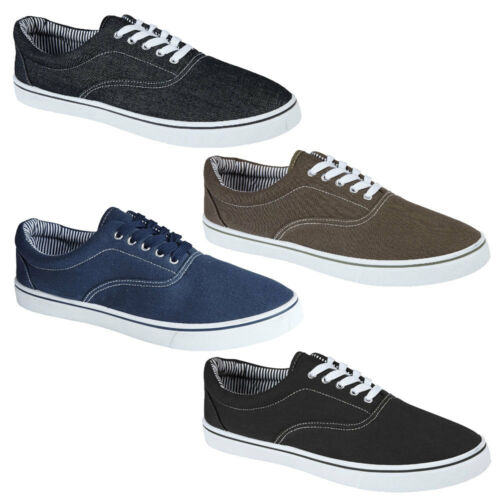 New Mens Harvard Lace Up Casual Canvas Plimsoll Trainers Shoes Size 7-12