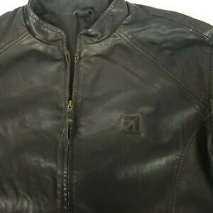 Cessna-Aircraft-Embroidered-Mens-L-Brown-Full-Zip-1-4-Zip-Sleeves-Leather-Jacket