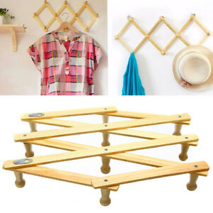 Details About Wooden Clothes Hanger Expandable Home Coat Rack Holder Hat Closet Wall Hook