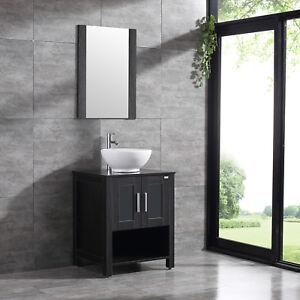 wood countertop for bathroom vanity Details About 24inch Bathroom Vanity Solid Wood Cabinet Ceramic Vessel Sink W Adjustable Feet