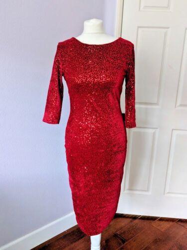 Top Vintage Red Sequins Dress S Retro Elegant Pinu