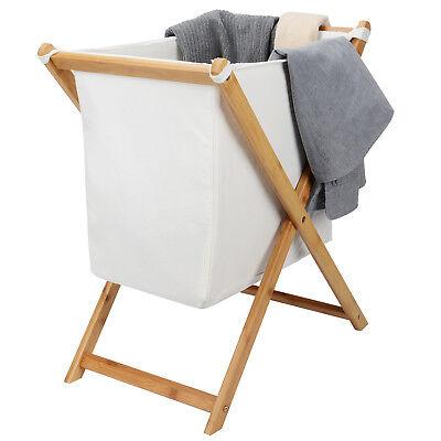 Household Folding Bamboo X-Frame Laundry Hamper Clothes Storage Basket Bin Bag