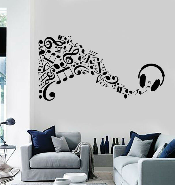 Music Musical Vine Flowers Notes Removable Wall Art Stickers Vinyl Decal Decor