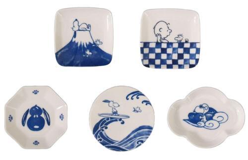 SNOOPY Sometsuke Mamezara Small Plate 5 Pieces Set SN310-127 Yamaka from Japan