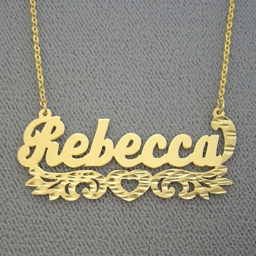 10k Gold Custom Jewelry Personalized Name Necklace Underneath Heart Diamond Cut