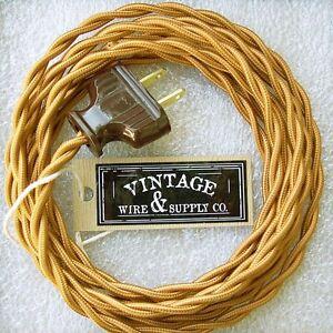 Golden Bronze Cloth Covered Rewire Kit Wire & Plug Vintage Light Antique Table