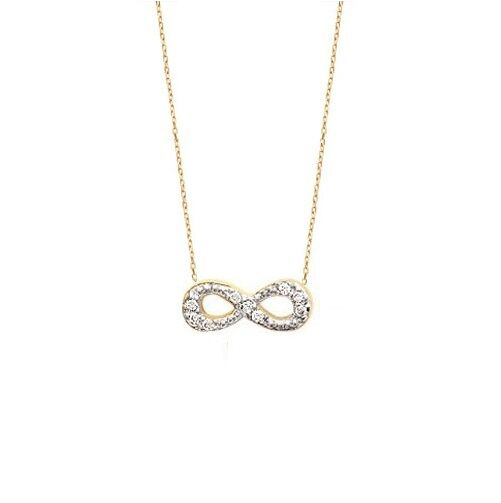 COLLIER Symbole Infini INFINITY + Zirconium 45 cm Bijoux en Plaqué OR  NEUF