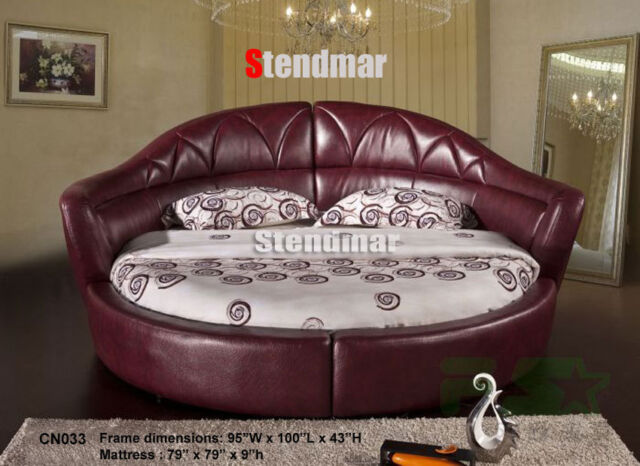 Modern Crystal Button Platform Round Bed W 10 Quot Memory