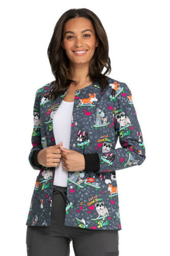 Dickies Good Times Roll Snap Front Warm-Up Print Scrub Jacket