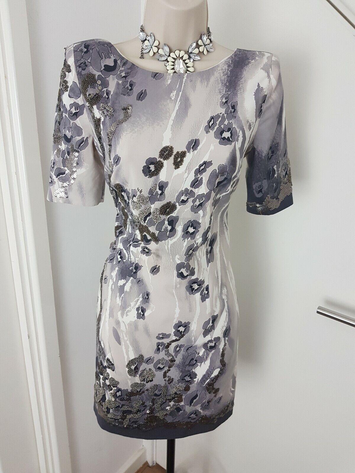 Karen Millen Mother Of The Bride Groom Dress Beaded Sequins Floral Silk UK 10