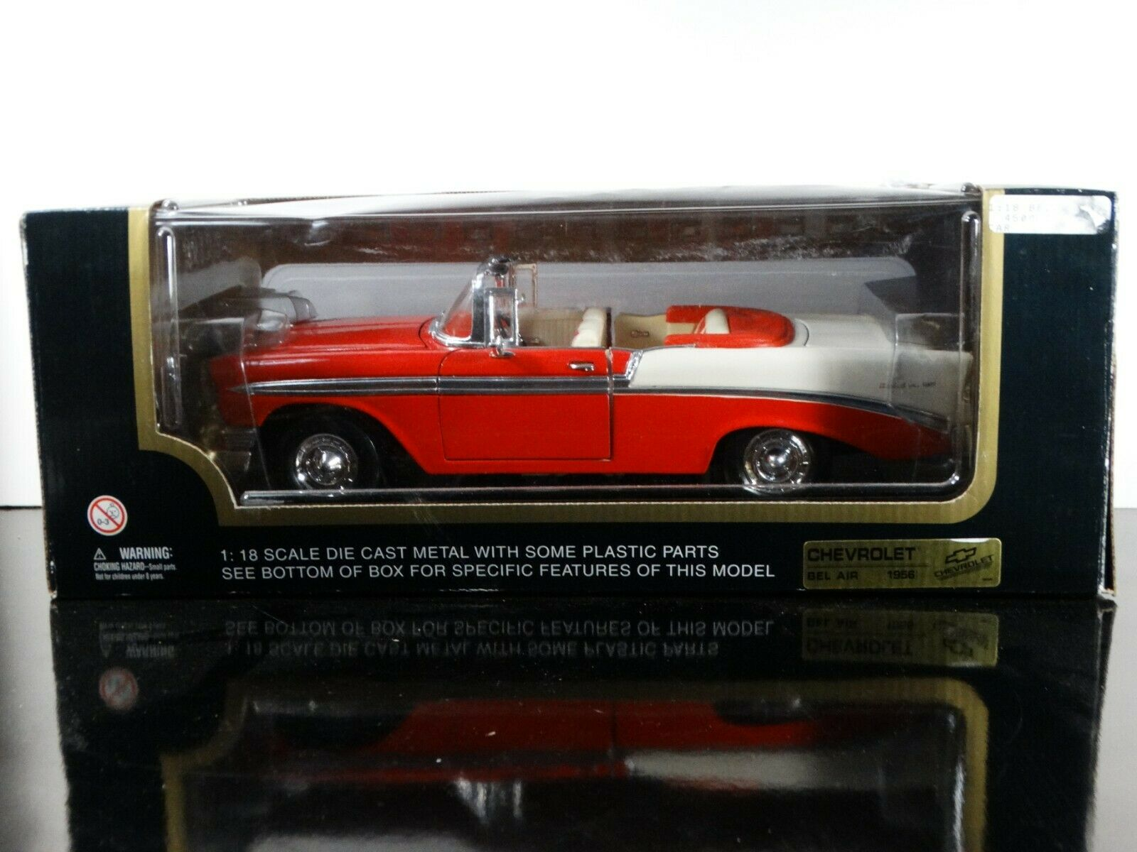 Road Tough 1956 Chevy Bel Air Congreenible Red 1 18 Scale Diecast Model Car