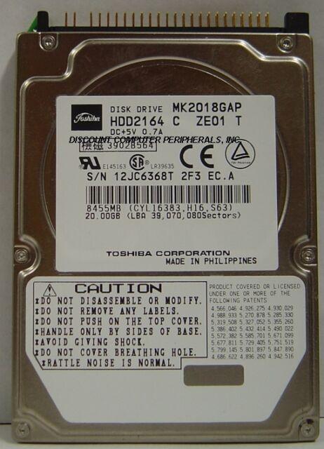 "Toshiba MK2018GAP HDD2164 20GB 2.5"" IDE Drive Free USA Ship Our Drives Work"