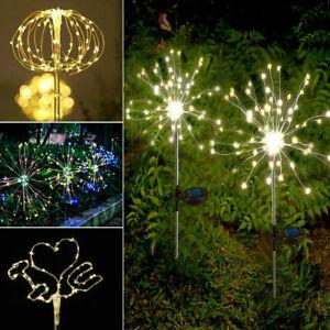 120LED Garden Path Lights Solar Powered Firework Light Starburst Stake Outdoor
