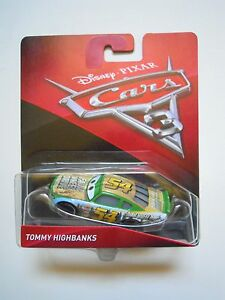 CARS-3-Disney-pixar-TOMMY-HIGHBANKS-nr-54-2017-RARO-mattel-1-55-faux-wheel-nuovo
