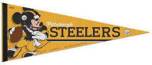 28f3dff3 Details about Pittsburgh Steelers MICKEY MOUSE QB Disney Premium Felt  Collectors PENNANT