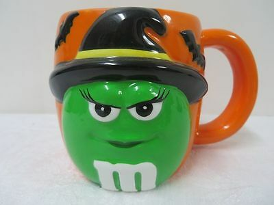 M&M Character Mug Green with Witches hat Halloween Orange Mug Vintage Rare