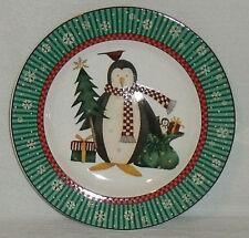 "Sakura PENGUINS Salad Plate Penguin Gifts Debbie Mumm 8"" Vtg 1998 Christmas"