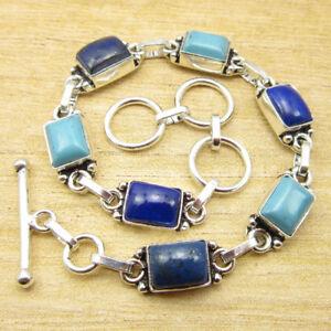 925-Silver-Plated-LAPIS-amp-SIMULATED-LARIMAR-amp-Other-Stone-UNISEX-Bracelet-Gift