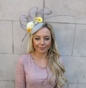 16761a725f4 Grey Yellow Lemon Flower Feather Pillbox Hat Hair Fascinator Races ...