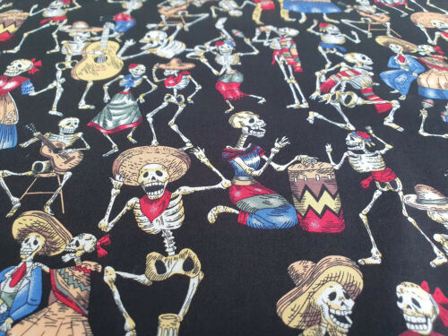 Black Day of the Dead Skeleton Party Halloween Cotton Craft Fabric Material