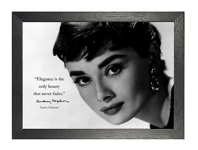 19 Audrey Hepburn British actress Model Poster Hollywood Star Black White Quote