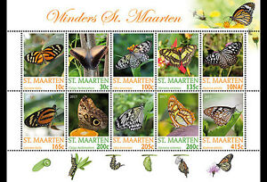 Sint-Maarten-Postfris-MNH-Sheet-Butterflies-2017