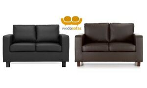 Details about Small Sofas 2 seater Crib 5 Faux Leather Compact Free Next Day Black or Brown