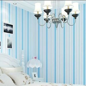 Details About Blue Stripe Wallpaper Kids Baby Room Blue Sky Blue Striped Wallpaper