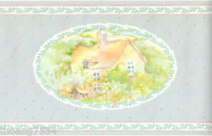 Image Is Loading Vintage Country Cottage Oval Scenic Scenery Canoe Floral