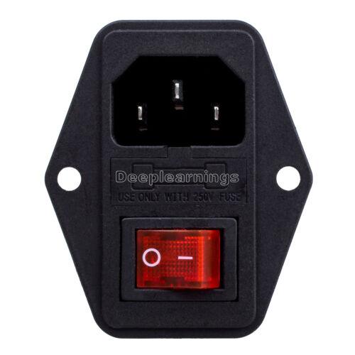 2 pièces noir rouge climatisation 250 V 10 A 3 Terminal prise électrique avec porte-fusible