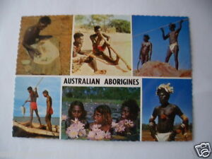 VINTAGE-COLOUR-PHOTO-POSTCARD-ABORIGINAL-AUSTRALIA-ABORIGINES-SPEARS-PAINTING