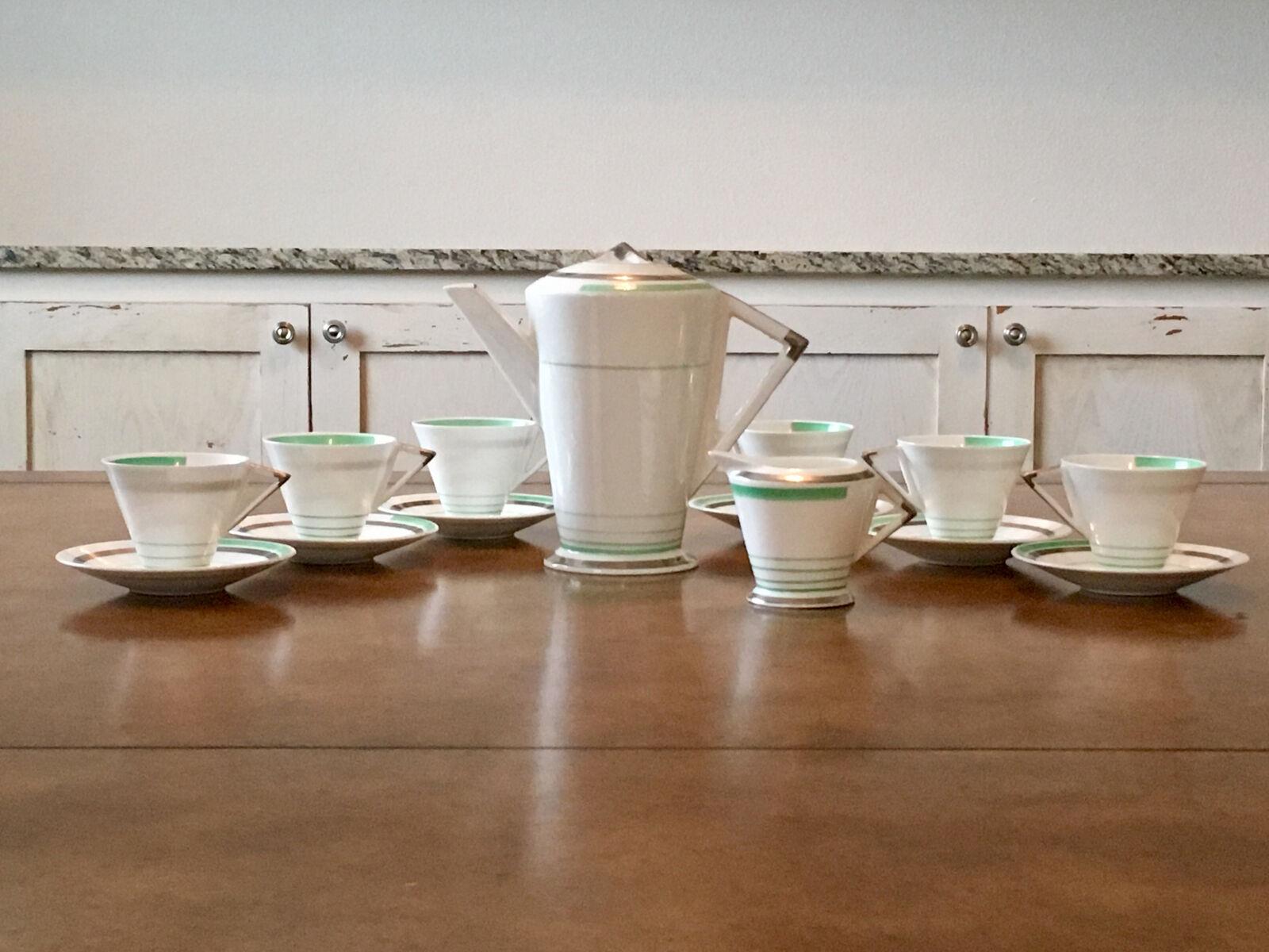 Lot de 6 Shelley Eve 12480 vert une demi-tasse tasses soucoupes café pot à thé théière