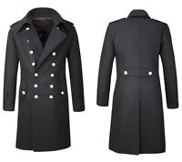 Mens Overcoat Jacket Wool Full length Long Military Double Breasted Trench Coat