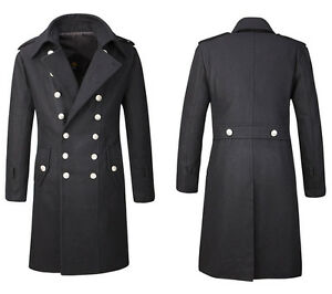 Mens Woolen Jacket Double Breasted Officer Trench Coat Outwear Overcoat