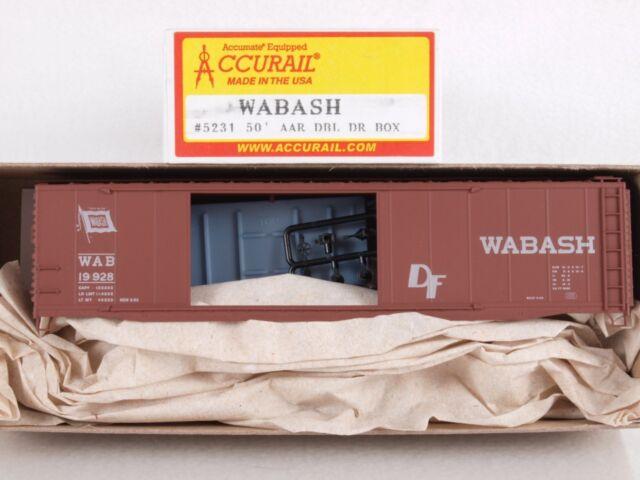 Accurail 5231 HO 50' AAR Double Door Boxcar Kit Wabash WAB #19928