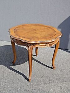 Details About Vintage Baker Furniture French Provincial Style Round Carved  Wood Side Table