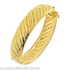 14K GOLD & BZ ETERNITY INFINITY CUFF BANGLE BRACELET SZ 7 INCH ITALIAN 42 GR