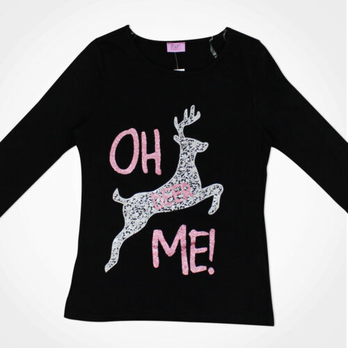 Kids Girls Novelty Christmas Reindeer Sparkly Silver T-Shirt Top Long Sleeve