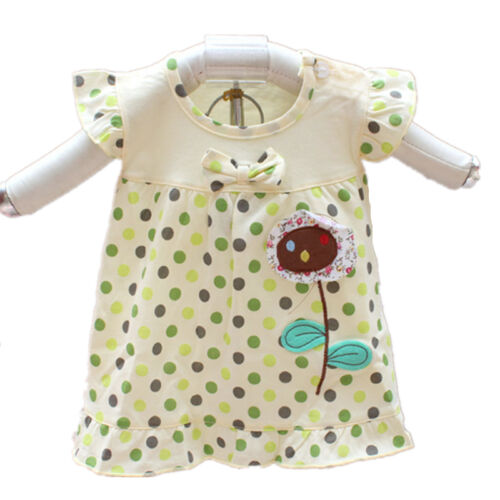 Neuf Bébé Fille à Pois Coton Haut En Rose Jaune 0-3 3-6 6-9 9-12 Mois